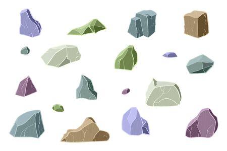 Multicolor stone set. Vector illustration. Different rock blocks. Ilustrace