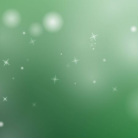Abstract green background with glowing particles. Vector illustration.