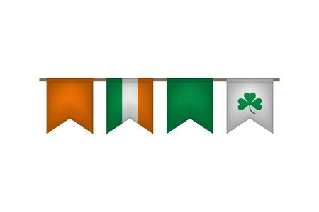 Ireland flag garland. Irish carnaval and festival decoration. Vector illustration. St. Patricks Day.