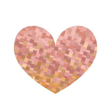 Square texture beige heart. Valentine day celebration. Vector illustration. Illustration
