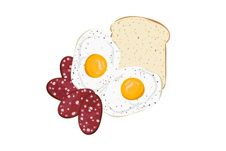 Omelet breakfast with eggs, sausage and toast bread. Vector illustration. Morning food. Ilustração