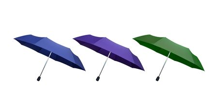 Set of green, blue and purple umbrellas. Vector illustration. Protection from rain. Ilustração