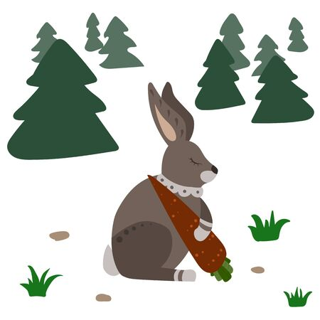 Hare with carrot. Forest with grass and fit tree. Vector illustration.