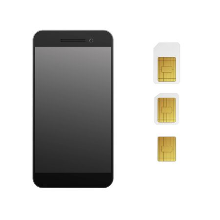 SIM cards with smartphone. Vector illustration. Mobile networks and telecommunications.