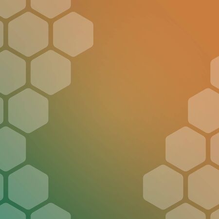 Abstract green and orange background with hexagons. Web blank card design. Vector illustration.