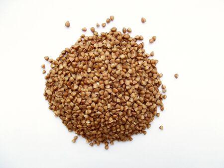 Dry buckwheat heap. Healthy eating. Grain food Porridge breakfast 版權商用圖片