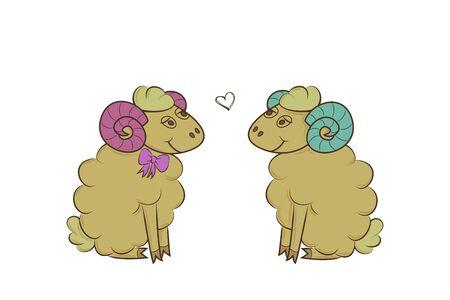 Boy and girl sheep. Valentine day. Heart, love Vector illustration Çizim