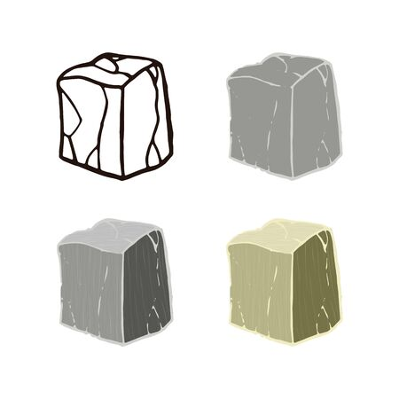 Stone set cube shape. Outline sketch, flat style and realistic. Vector illustration.