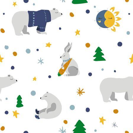 Winter forest. White polar bear, hare. Fir tree, moon and sun. Vector illustration. Seamless pattern background. 向量圖像