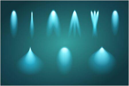 Set of light beams. Vector illustration glow design. Blue illumination.