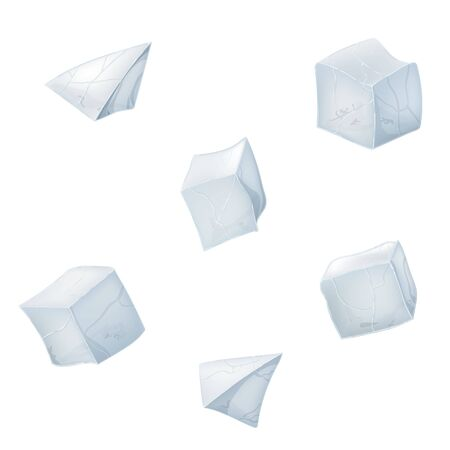 Collection of transparency ice cubes and pyramids. Vector illustration. 3D design. White background.