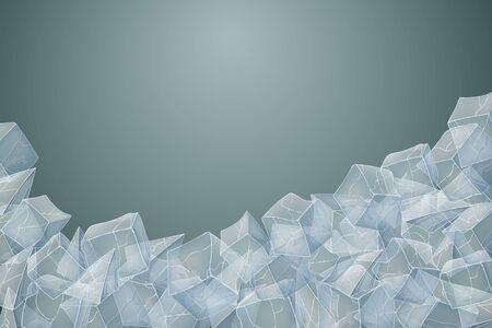 Transparent ice heap. Vector illustration. Dark background. 向量圖像