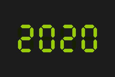 2020 green digital text. Vector illustration. New Year.
