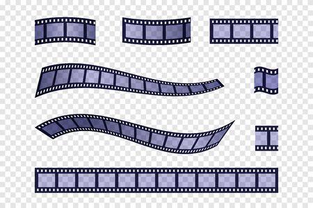 Blue filmstrip set. Vector illustration. Cinema production. Flm strip.
