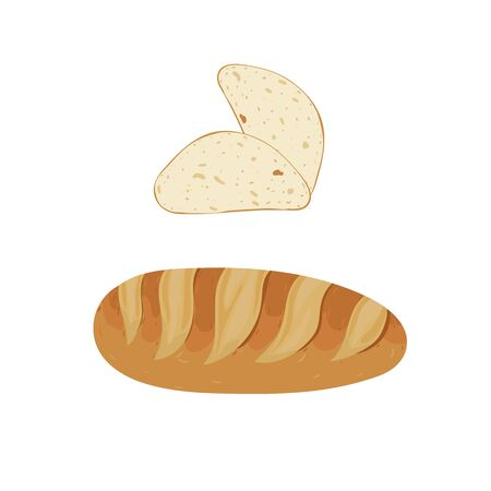 Bread slices and bakery. Vector illustration. Snack and breakfast food.