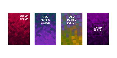 Cards set with abstraction square texture. Vector illustration. Modern digital concept. Ilustração