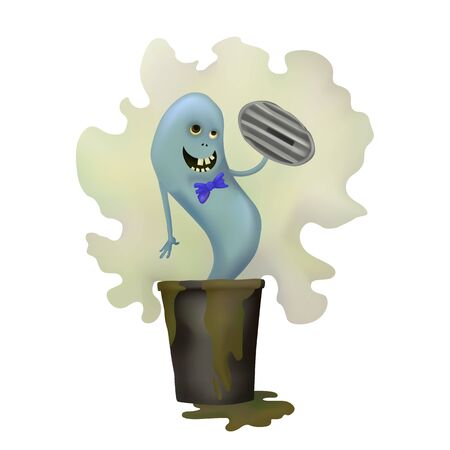 Smelly blue Ghost. Dirty trash. Vector illustration Halloween day