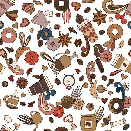 Coffee design. Seamless pattern background. Vector illustration. Hot drink