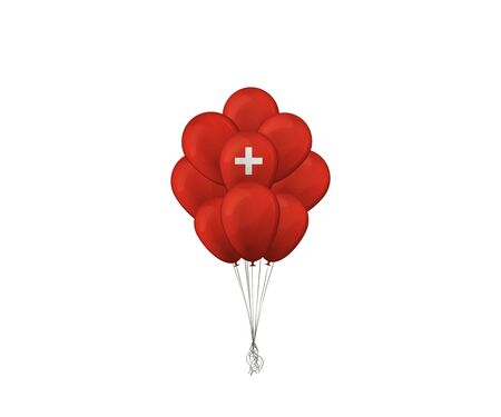 Bunch of balloons. The Flag Of Switzerland. Vector illustration. 向量圖像