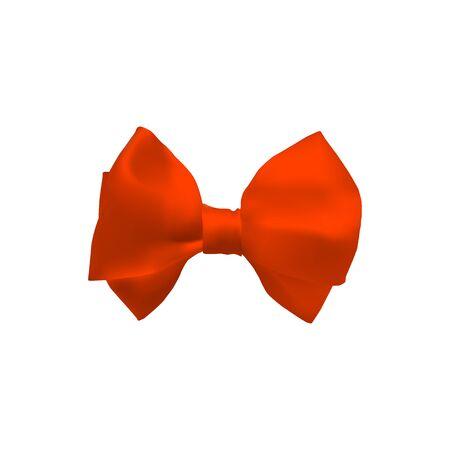 Orange 3d bow. Satin ribbon. Decorative bowknot. Vector illustration.