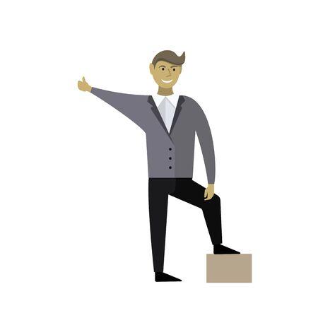 Happy European man. Vector illustration. Flat style design 向量圖像