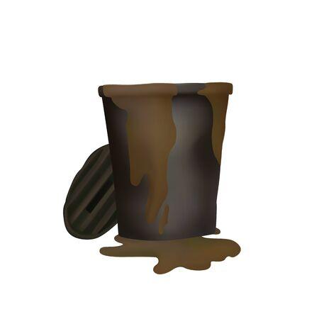 Smell trash. Vector illustration. Brown mud flows. Recycle bin. 向量圖像