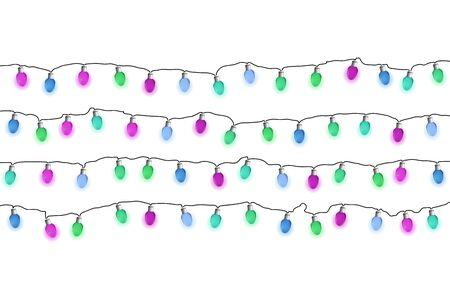 Lights bulb garlands. Vector illustrayion. New Year decoration.