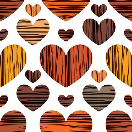 Multicolor handdrawn hearts. Vector illustration. Seamless pattern background. Wrapping paper design