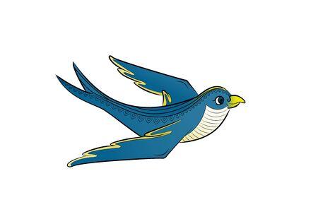 Blue bird fly. Vector illustration. Cute parrot.