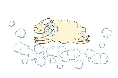 Sheep fly in sky. Vector illustration. Cartoon baby animal.