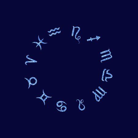 Zodiac sign set. Astrological horoscope. Vector illustration. Blue sequin icon 向量圖像