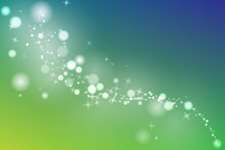 Glowing Particles. Springtime template. Green spreeng and blue sky. Vector illustration.