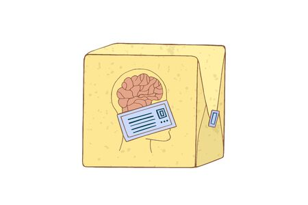 Brain drain concept. Smart people are leaving the country. Sending symbolizing mind. Vector illustration