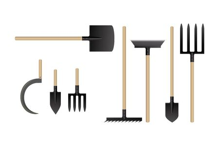 Garden work tools collection. Vector illustration. Set of agriculture equipment. Illusztráció