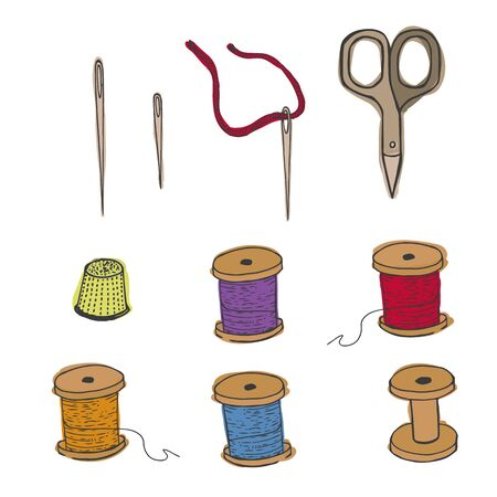 Threads, thimble scissors, needles. Sewing items collection Vector illustration