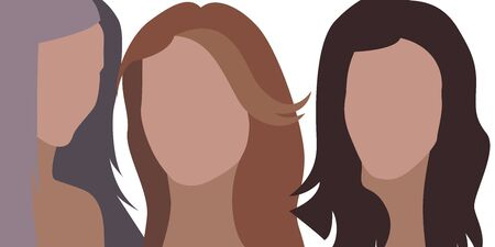 Woman flat face. Vector illustration. Young and old people. 向量圖像