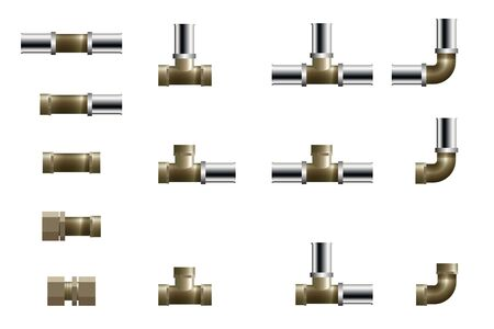 Fittings für Polypropylen-Rohrleitung. Vektor-Illustration. Set aus T-Stück, Winkel und Verbinder.