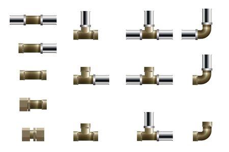 Raccords pour canalisation en polypropylène. Illustration vectorielle. Ensemble de té, d'angle et de connecteur.