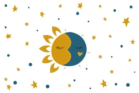 Sleeping sun and moon. Stars in the sky. Vector illustration. Night and day. White background. 向量圖像