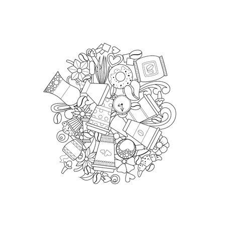 Doodle Coffee. Latte, cappuccino espresso mocha. Vector illustration Coloring book 版權商用圖片