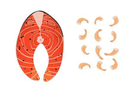 Salmon filet steak and shrimps. Vector illustration. Seafood fish. Healthy diet.