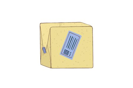 Parcel in a closed box. Vector illustration. Post export.