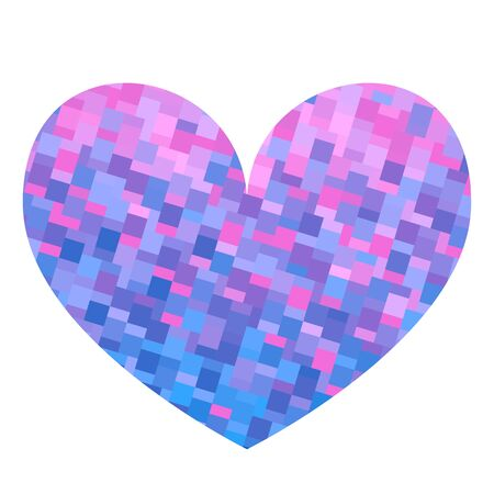 Square texture blue heart. Valentine day card. Vector illustration.