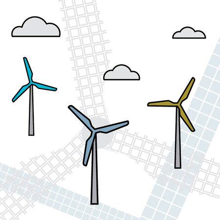 Wind turbine. Renewable energy. Vector illustration Modern industry 向量圖像