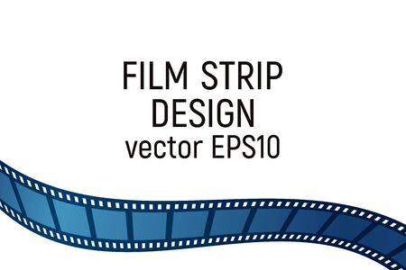 Blue film strip design. Vector illustration. Cinema production.
