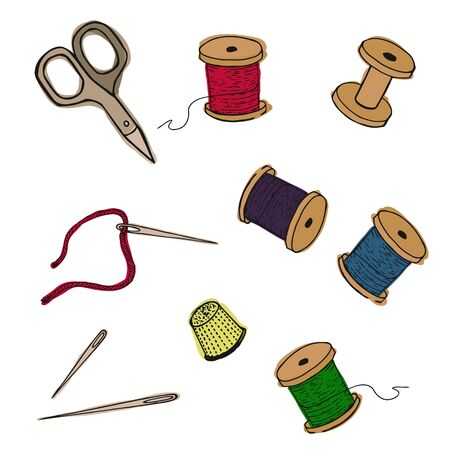 Sewing items collection. Vector illustration. Threads, thimble scissors, needles. The set of embroidery.