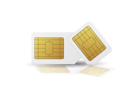 Standard SIM cards set. Vector illustration. Mobile networks. 向量圖像