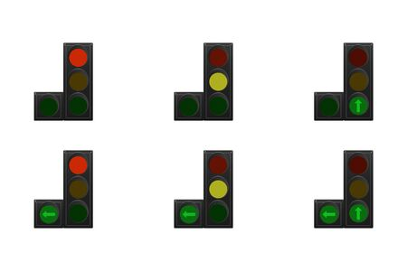 Set of traffic lights. Red, yellow and green. Arrow straight, turn left. Vector illustration.