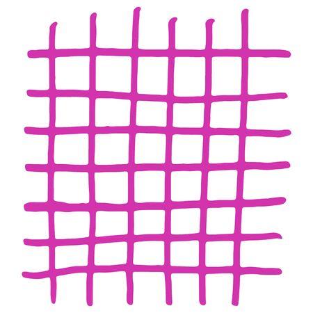 Handdrawn pink grid. Vector illustration. Stroke ink and marker.
