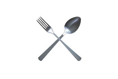 Realistic spoon and fork. Silver Cutlery. Vector illustration.  イラスト・ベクター素材